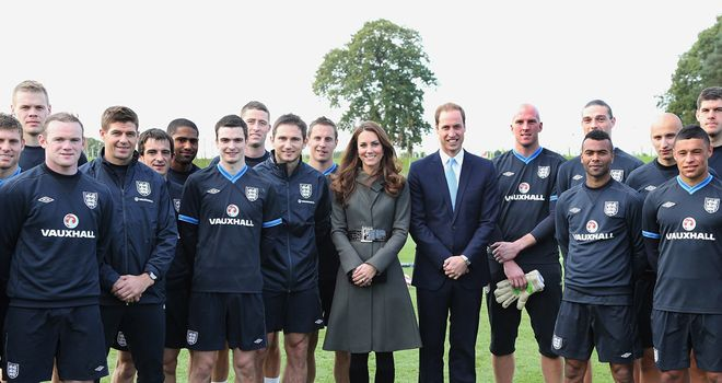 The Duke and Duchess of Cambridge dropped into England's first training session at St George's Park.