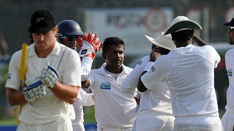 Rangana Herath: struck regularly as the opening day progressed