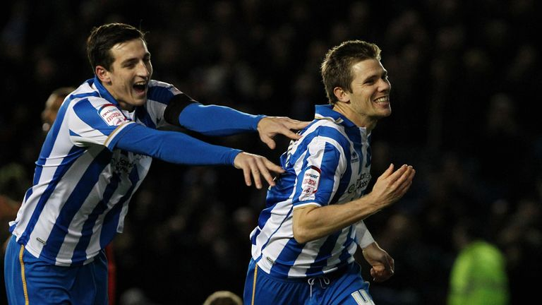 Dean Hammond (r): Celebrates his goal for Brighton
