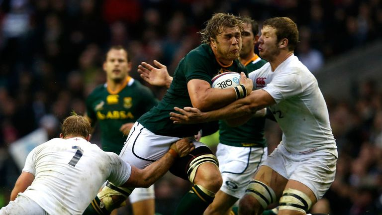 Duane Vermeulen makes some hard yards for South Africa