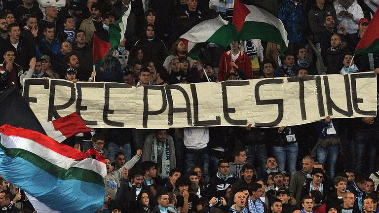 Lazio fans waved banners in support of Palestine during the match