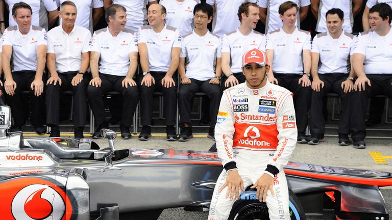 Hamilton poses for a farewell snap with McLaren
