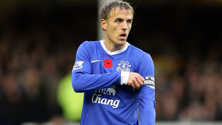 Phil Neville: Set to make his 500th Premier League appearance against Wigan