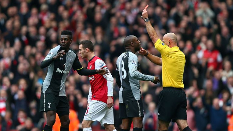 Adebayor: the 93rd Premier League red card against Arsenal... and their third 5-2 win