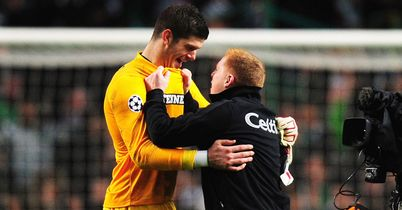 Neil Lennon and Fraser Forster: Celtic goalkeeper congratulated after famous win