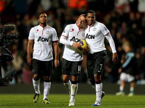 Hernandez (centre) was the star of the show for United