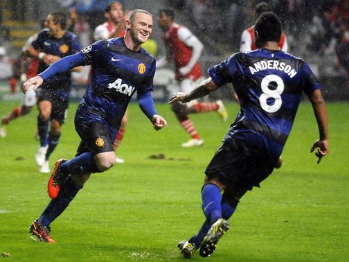 Wayne Rooney celebrates his goal