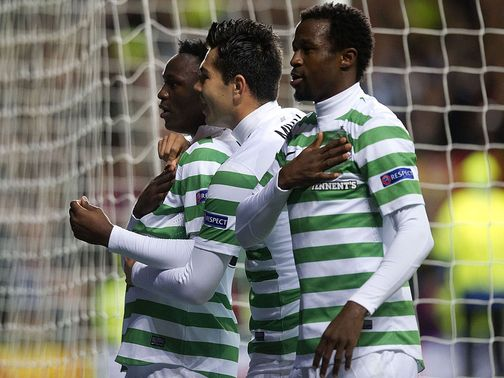 Victor Wanyama celebrates for Celtic