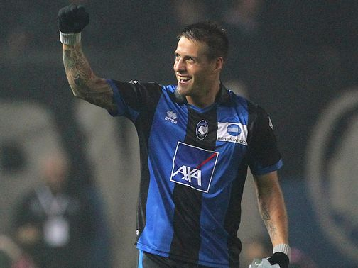 German Denis celebrates for Atalanta