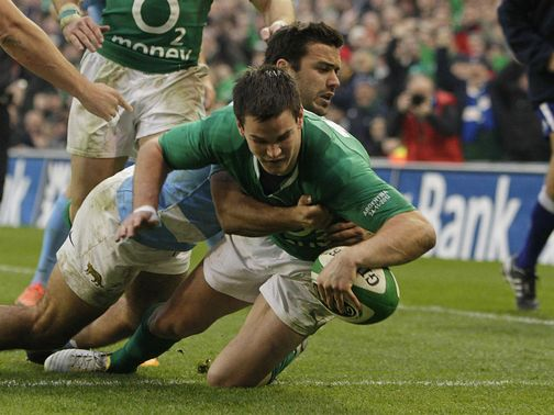 Jonathan Sexton helps Ireland to victory.