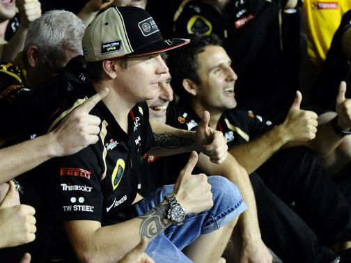 Kimi Raikkonen gets the thumbs up from our man