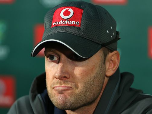 Michael Clarke shows his emotion to the press.