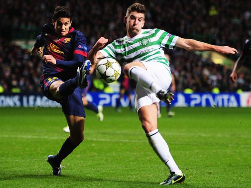 Charlie Mulgrew (r) in action during the win over Barcelona