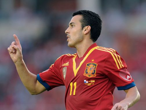 Pedro celebrates his goal for Spain
