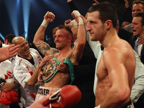 Kessler celebrates his victory over Froch in Denmark.