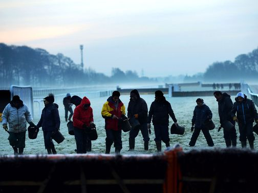 Haydock officials are working hard to beat the frost