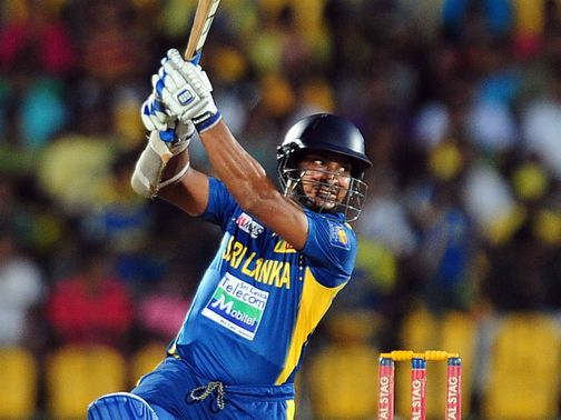 Kumar Sangakkara cracks the ball away