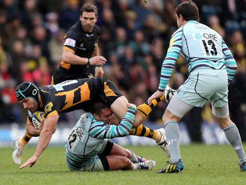 Chris Bell of Wasps is halted