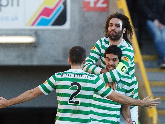 Celtic celebrate Lassad Nouioui's goal