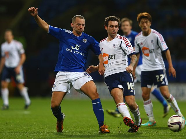 Drinkwater and Davies battle for the ball