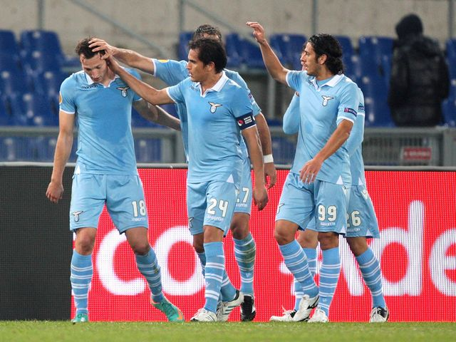Libor Kozak celebrates with his Lazio team-mates
