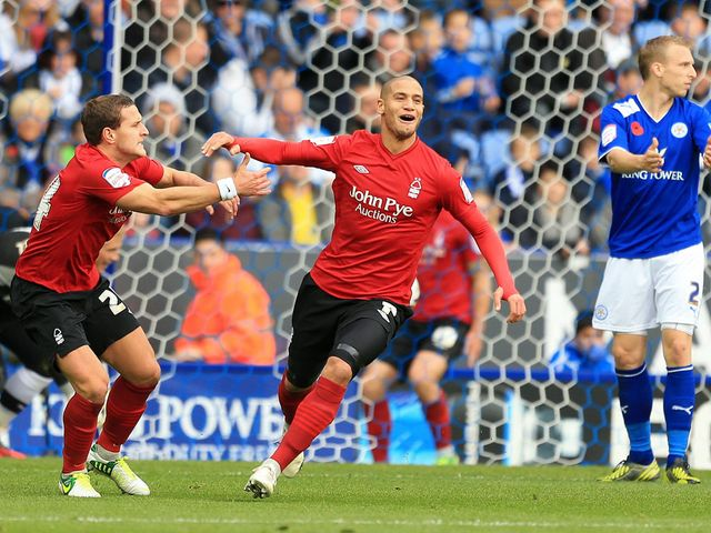 Adlene Guedioura celebrates his goal for Nottingham Forest