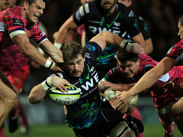 Morgan Allen goes in for an Ospreys try