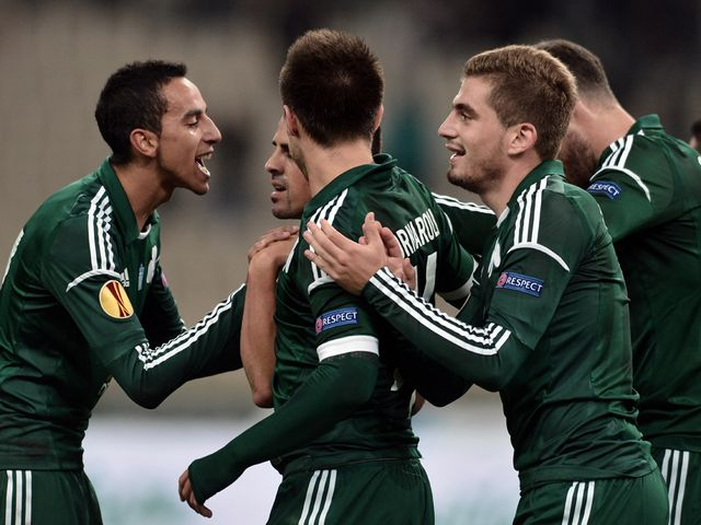Panathinaikos celebrate against Maribor