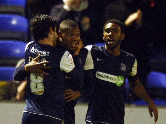 Britt Assombalonga: Celebrates his goal for Southend