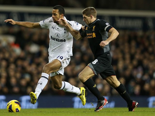 Mousa Dembele and Steven Gerrard battle for the ball