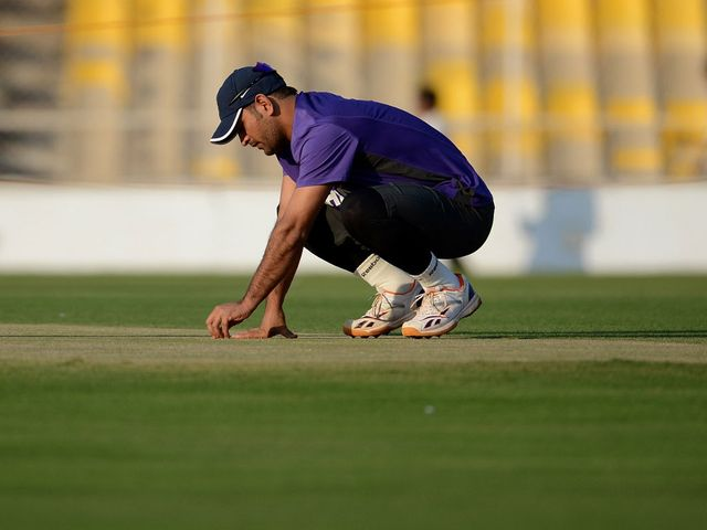 Dhoni gets to grips with the conditions in Ahmedabad.