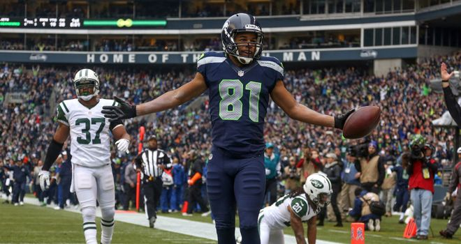 Golden Tate: Celebrates his touchdown for the Seattle Seahawks