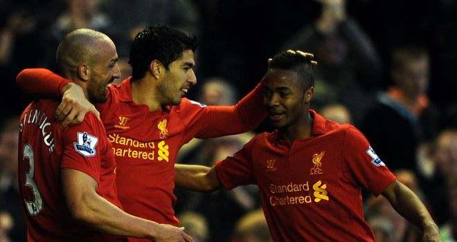 Jose Enrique (left): Aiming to lessen the goalscoring burden on Luis Suarez (centre)
