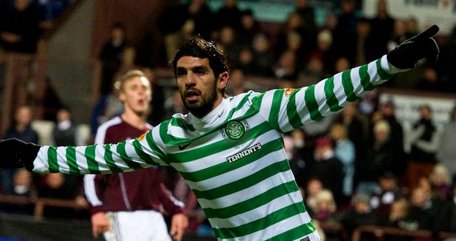 Lassed Nouioui: Celebrates opening goal for Celtic