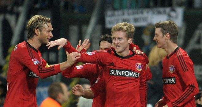 Andre Schurrle celebrates giving Leverkusen the lead