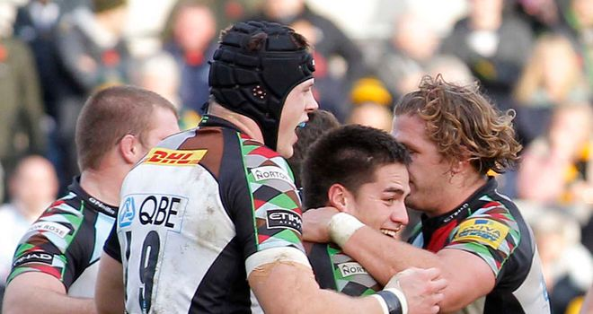 Ben Botica celebrates the match-winning try