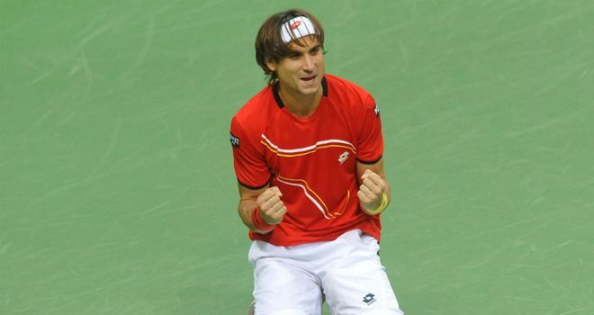 David Ferrer: Celebrates his victory in Prague