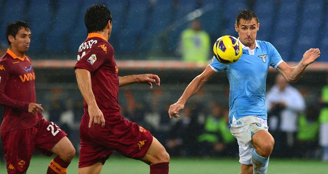Miroslav Klose: In action in first Roma v Lazio derby