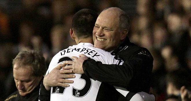 Martin Jol shows his love for Clint Dempsey after his hat-trick against Newcastle in January