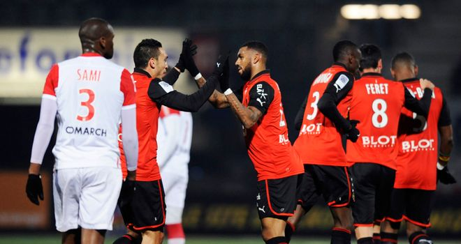 Mevlut Erding after putting Rennes ahead