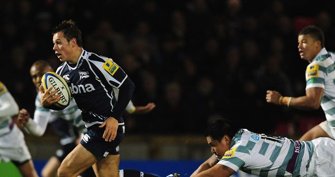 Rob Miller makes a break in Sale's win over London Irish