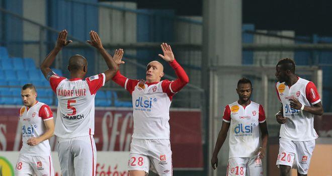 Sebastian Puygrenier celebrates a Nancy goal