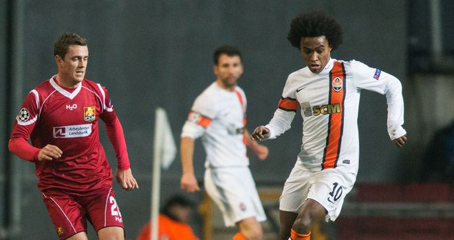 Willian bagged a brace for Shakhtar against Nordsjaelland