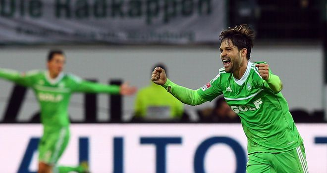 Diego leads the celebrations for Wolfsburg