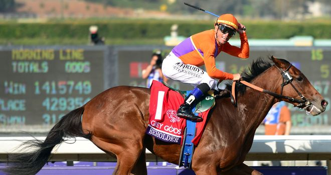 Garrett Gomez celebrates Beholder's all-the-way success