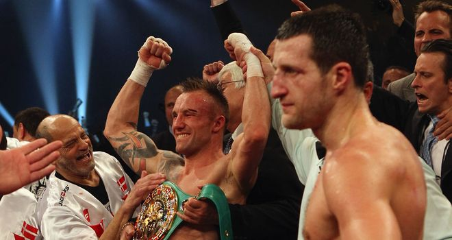 Mikkel Kessler celebrates victory over Carl Froch in Copenhagen in April 2010