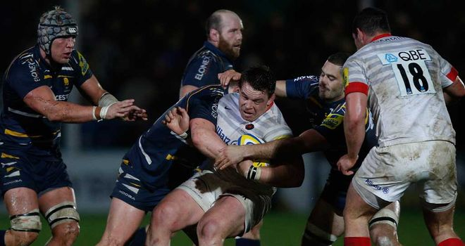 John Smit: Saracens star is tackled by the Worcester defence