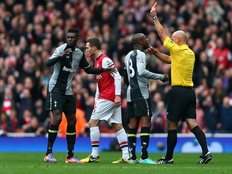 Emmanuel Adebayor is dismissed against Arsenal.