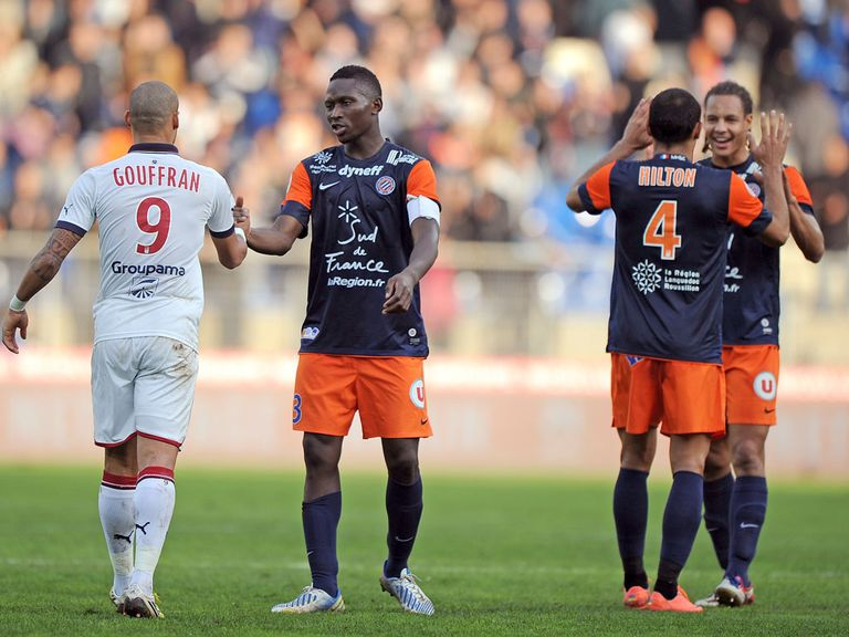Montpellier celebrate against Bordeaux