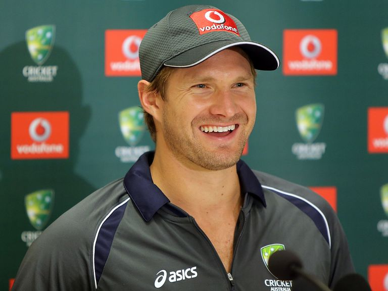 Shane Watson faces the press on Monday.